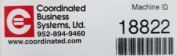 A Coordinated Business Systems Machine ID Sticker - you need this for your service call