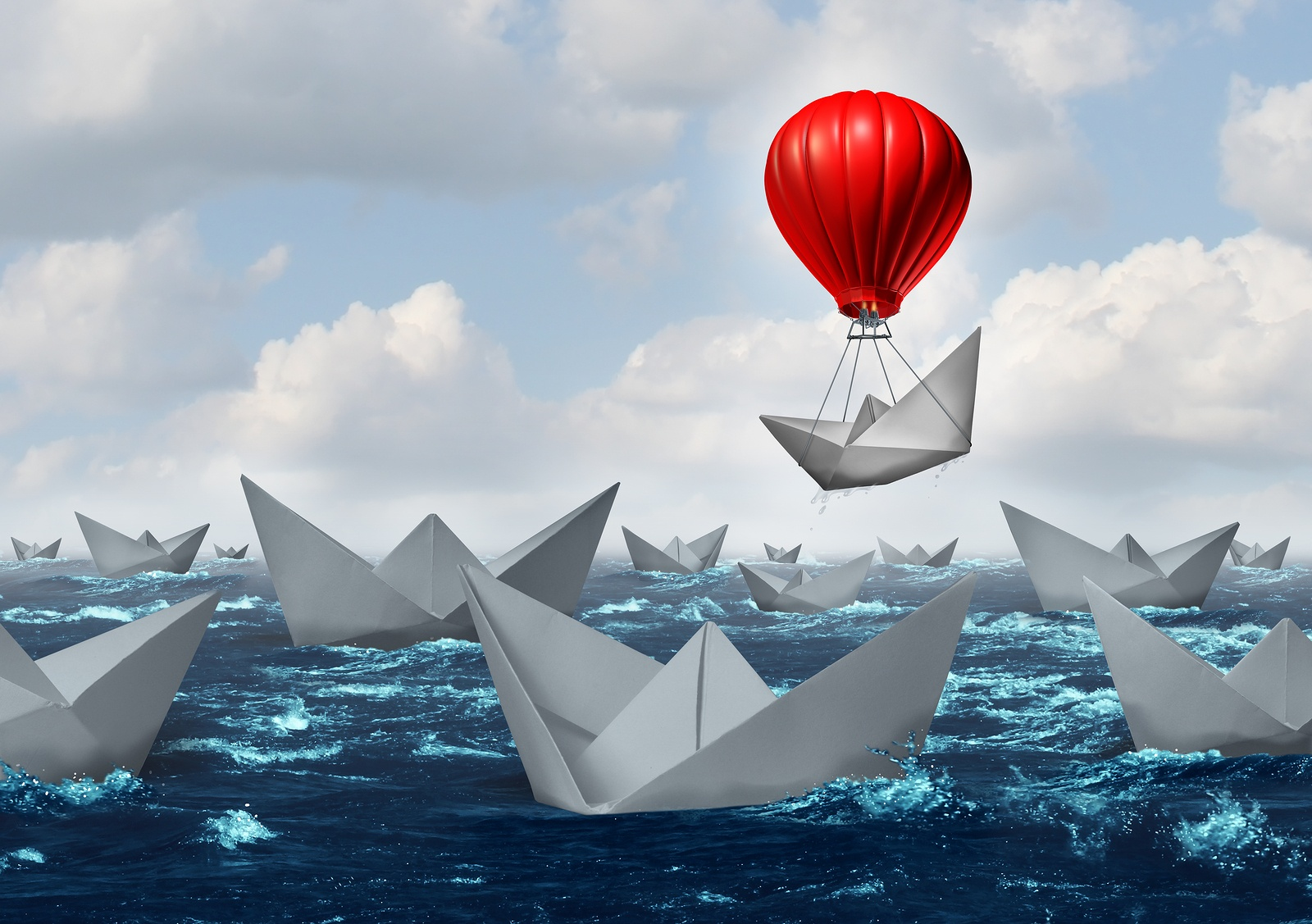 boat wtih balloon-Business-Advantage-Concept-93583814